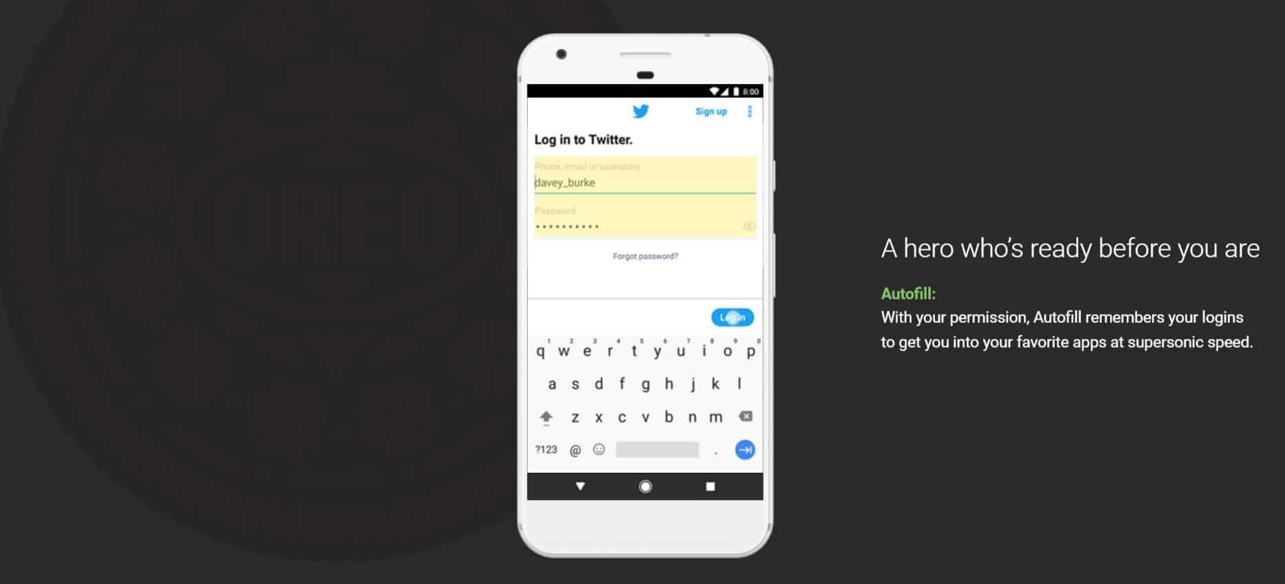Android Oreo Auto Fill