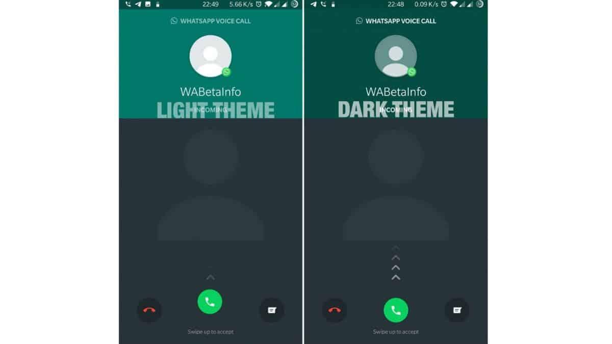 WhatsApp dark theme VoIP