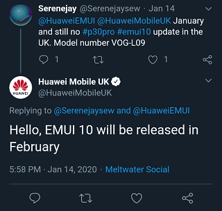 EMUI 10 update for Huawei P30 Pro in the UK