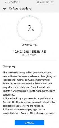 Huawei P Smart 2019 EMUI 10 stable update
