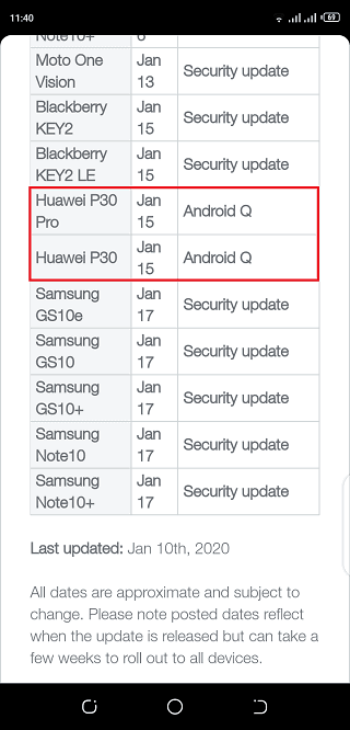 TELUS EMUI 10 update for P30 and P30 Pro