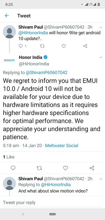 No Android 10 based EMUI 10 fro Honor 9 Lite