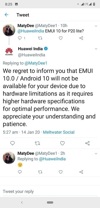 No Android 10 based EMUI 10 for P20 Lite